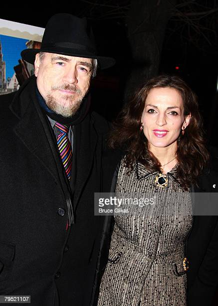 """Actor Brian Cox and wife Actress Nicole Ansari pose as they arrive for The New York Premiere of """"In Bruges"""" at The IFC Center on February 4, 2008 in..."""