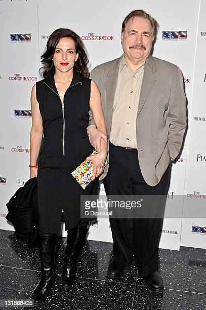 """Actor Brian Cox and wife Nicole Ansari-Cox attend the New York Premiere of """"The Conspirator"""" at The Museum of Modern Art on April 11, 2011 in New..."""