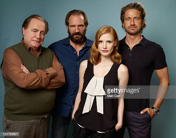 Actor Brian Cox director Ralph Fiennes actors Jessica Chastain and Gerard Butler of 'Coriolanus' poses during the 2011 Toronto Film Festival at Guess...
