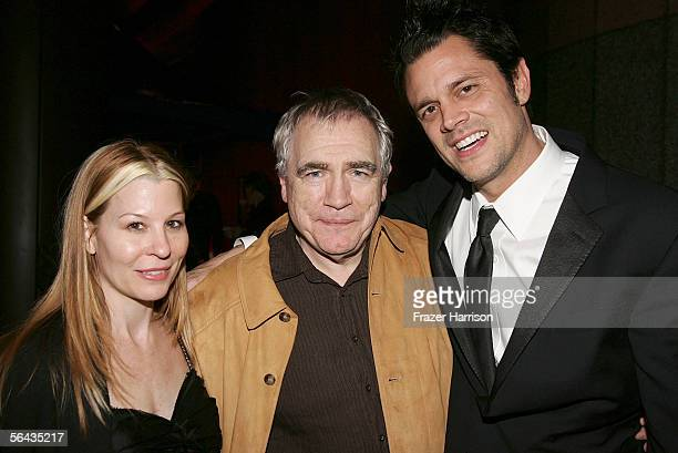 Actor Brian Cox poses with Johnny Knoxville and wife Melanie Clapp at the Hollywood premiere of Fox Searchlight Pictures' The Ringer after party held...