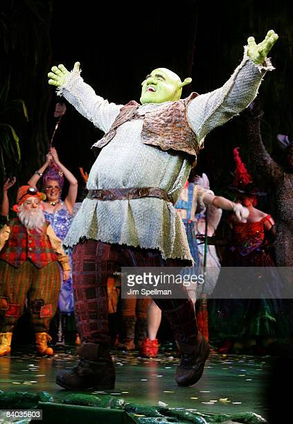"""Actor Brian d' Arcy James attend the opening night of """"Shrek The Musical"""" on Broadway at the Broadway Theatre on December 14, 2008 in New York City."""