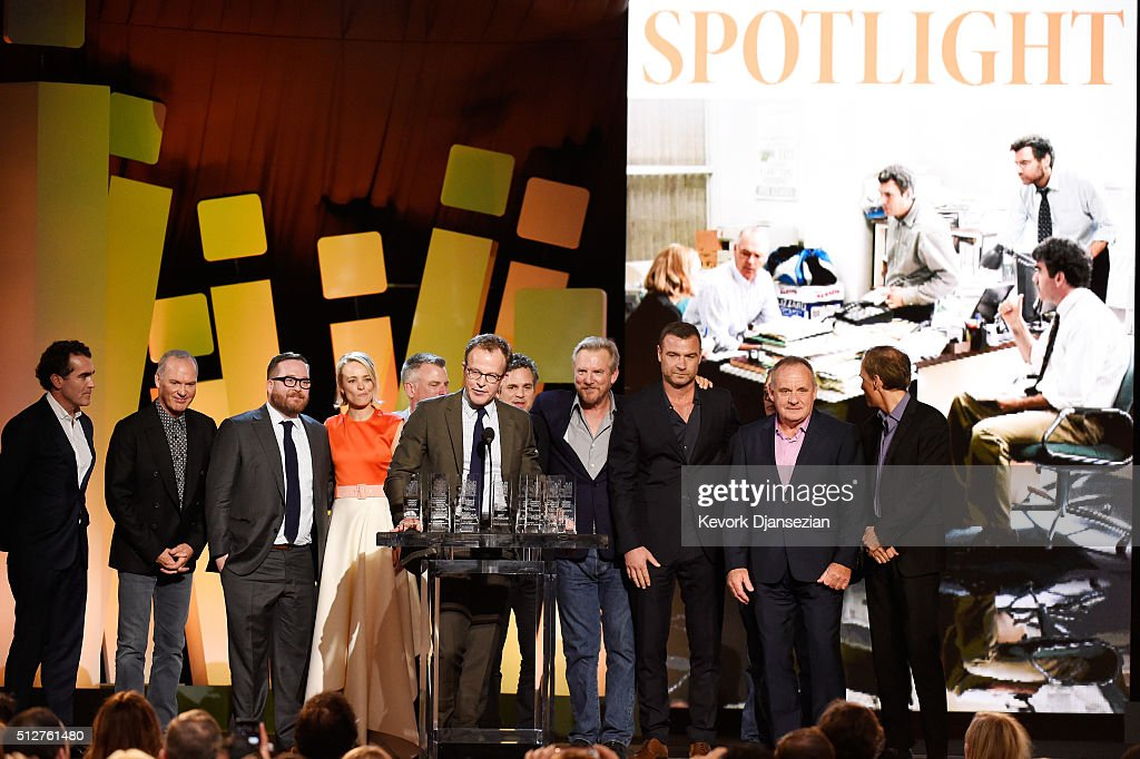 Actor Brian d'Arcy James, actor Michael Keaton, actor Michael Cyril Creighton, actor Rachel McAdams, casting director Kenny Barden, writer/director Tom McCarthy, actor Mark Ruffalo, actor Jamey Sheridan, actor Liev Schreiber, actor Paul Guilfoyle, and actor Neail Huff accept the Robert Altman Award for 'Spotlight' onstage during the 2016 Film Independent Spirit Awards on February 27, 2016 in Santa Monica, California.