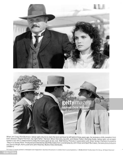 "Actor Brian Dennehy and actress Sigrid Thornton on set Actor Nicholas Eadie and Tom Burlinson on set of the movie ""Return to Snowy River"" in 1988."