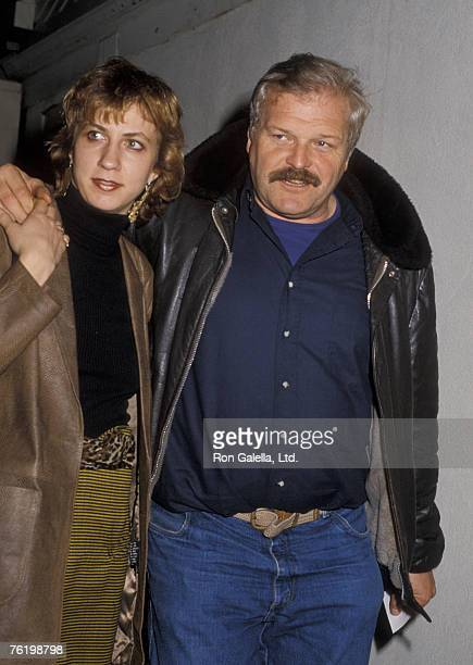 Actor Brian Dennehy and wife Jennifer Arnott being photographed on January 7, 1986 at Spago Restaurant in West Hollywood, California.