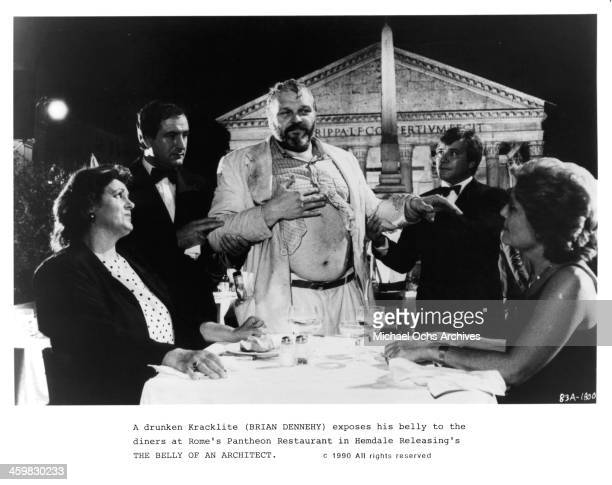 "Actor Brian Dennehy on set of the movie ""The Belly of an Architect "" , circa 1987."