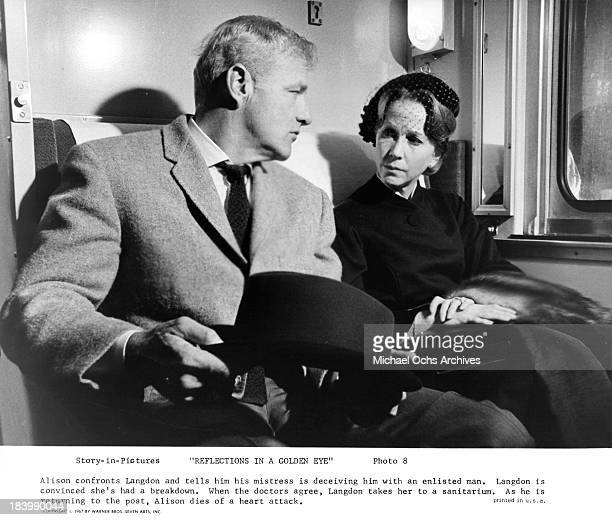 Actor Brian Keith and actress Julie Harris on set of the Warner Bros movie Reflections in a Golden Eye in 1967