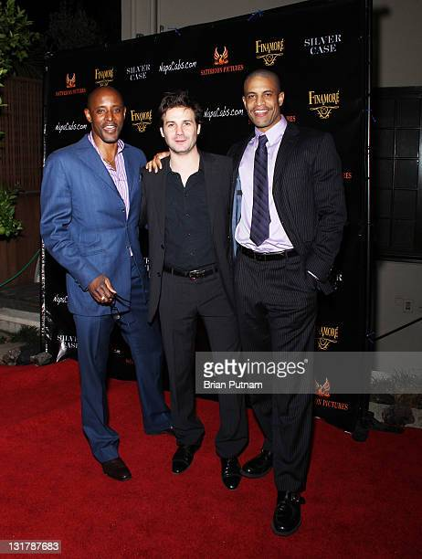 Actor Brian Keith Gamble director/producer Christian Filippella and actor Chris Facey attend the Wrap Party for the film 'Silver Case' on January 15...
