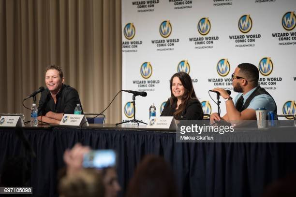 Actor Brian Krause and actress Holly Marie Combs talk with moderator Victor Dandridge during The Charmed Life A conversation with Holly Marie Combs...