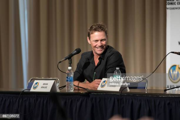 Actor Brian Krause talks during The Charmed Life A conversation with Holly Marie Combs and Brian Krause session at Sacramento Convention Center on...