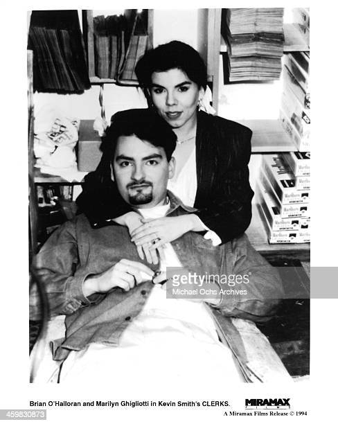Actor Brian O'Halloran and actress Marilyn Ghigliotti on set of the Miramax movie Clerks circa 1994