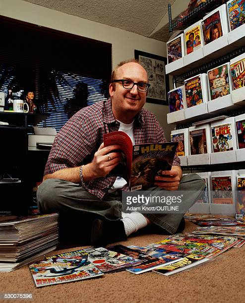 Actor Brian Posehn with Comic Books