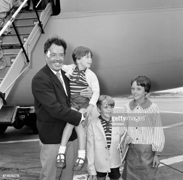 Actor Brian Rix arrives at LAP with his children after his accident in Spain 10th September 1965
