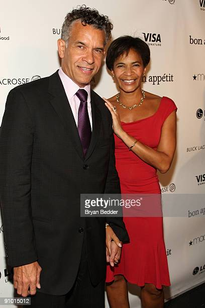 Actor Brian Stokes Mitchell and Alison Tucker attend Playbill's 125 Anniversary at the Bon Appetit Supper Club and Cafe on September 21 2009 in New...