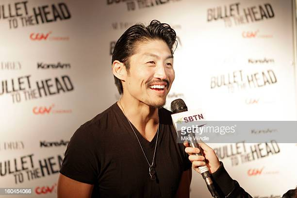 Actor Brian Tee attends KoreAm Journal and Audrey Magazine's advanced screening of 'Bullet To The Head' at CGV Cinemas on January 31 2013 in Los...
