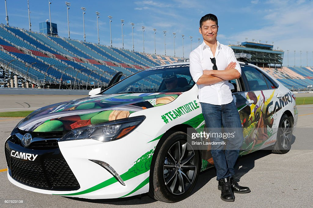 Actor Brian Tee is the honorary pace car driver for the NASCAR Sprint Cup Series Teenage Mutant Ninja Turtles 400 at Chicagoland Speedway on September 18, 2016 in Joliet, Illinois.