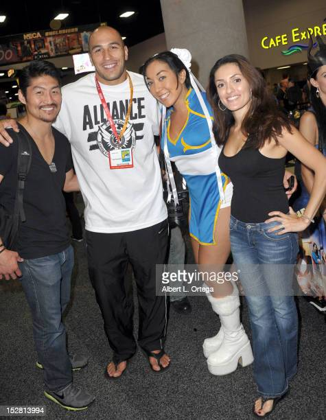 Actor Brian Tee UFC fighter Brandon Vera MMA Fighter Tracy Lee dressed as Chun Li from Street Fighter and actress Mirelly Taylor participate in Day 2...