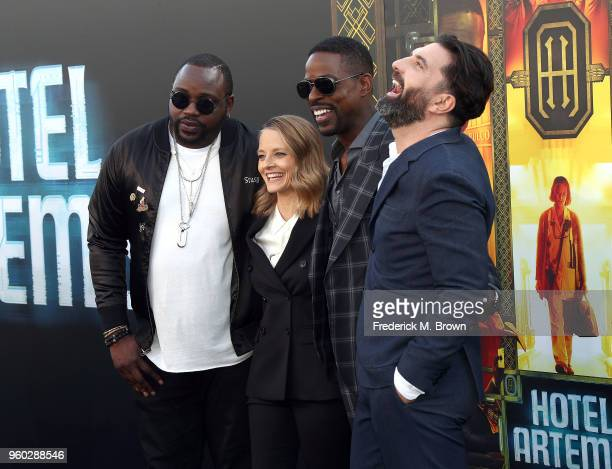 Actor Brian Tyree Henry actress Jodi Foster actor Sterling K Brown and director Drew Pearce attend Global Road Entertainment's 'Hotel Artemis'...