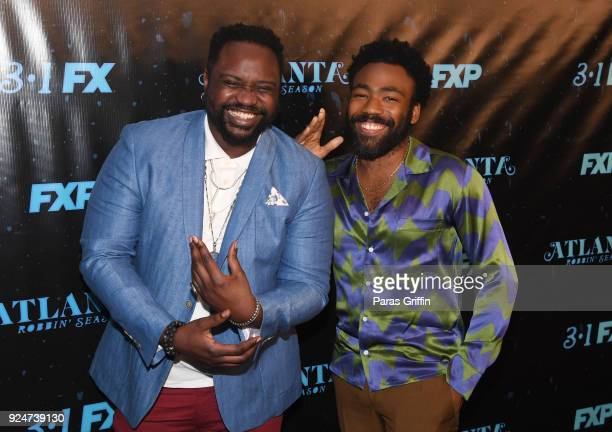 """Actor Brian Tyree Henry and actor/recording artist Donald Glover attend """"Atlanta Robbin' Season"""" Atlanta Premiere at Starlight Six Drive In on..."""
