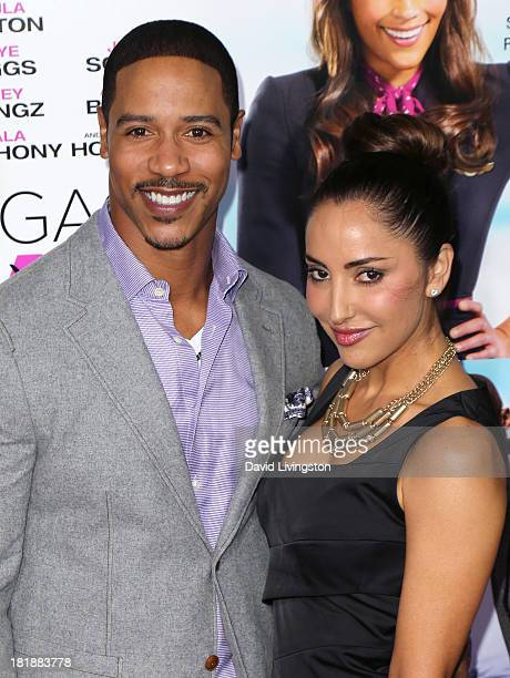 Actor Brian White and wife Paula Da Silva attend the premiere of Fox Searchlight Pictures' Baggage Claim at Regal Cinemas LA Live on September 25...