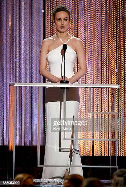 Actor Brie Larson speaks onstage during The 23rd Annual Screen Actors Guild Awards at The Shrine Auditorium on January 29 2017 in Los Angeles...