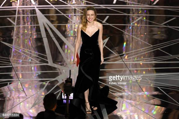 Actor Brie Larson walks onstage during the 89th Annual Academy Awards at Hollywood Highland Center on February 26 2017 in Hollywood California