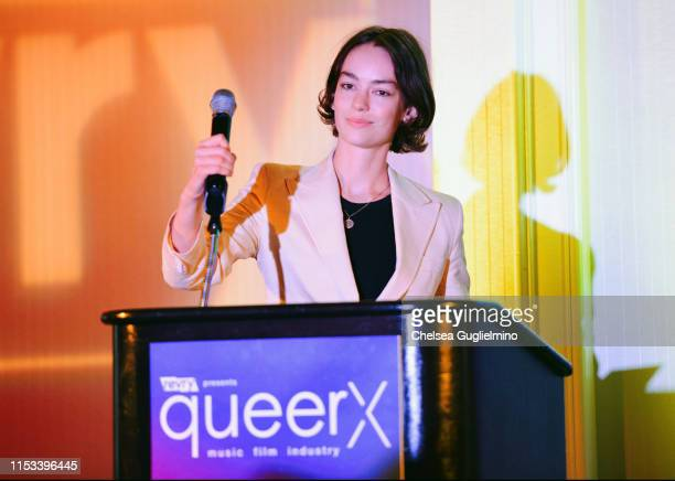 Actor Brigette LundyPaine speaks onstage at the closing night gala and Visibility Awards during Revry's 4th Annual QueerX Festival at The London West...