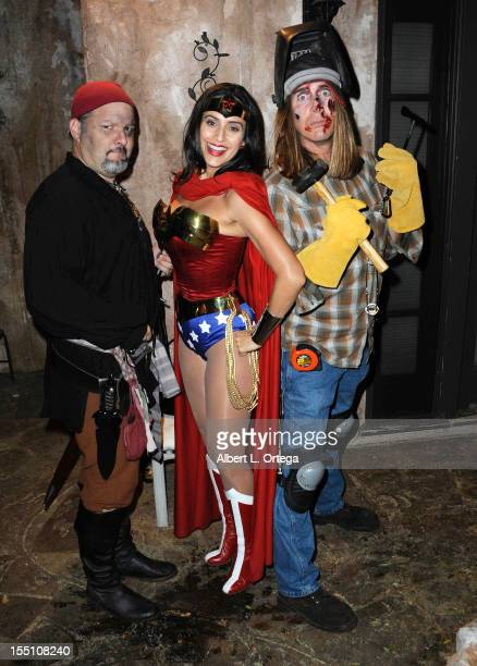 Actor Britt Griffith actress Valerie Perez and Actor James Mitchell attend Halloween Soiree Hosted By SyFy's 'Monster Man' Cleve Hall held at a...