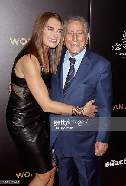 Actor Brooke Shields and singer Tony Bennett attend the Woman In Gold New York premiere at The Museum of Modern Art on March 30 2015 in New York City