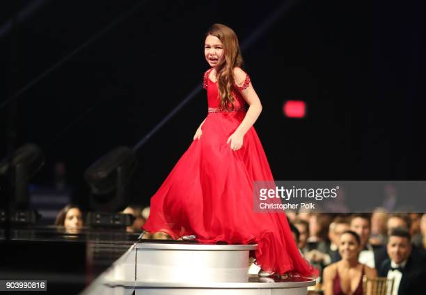 Actor Brooklynn Prince accepts Best Young Actor/Actress award for 'The Florida Project' onstage during The 23rd Annual Critics' Choice Awards at...