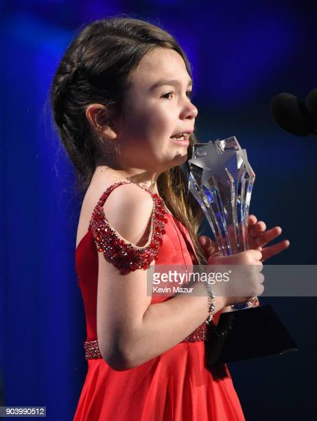 Actor Brooklynn Prince accepts the Best Young Actor/Actress award for 'The Florida Project' onstage during The 23rd Annual Critics' Choice Awards at...
