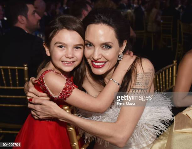 Actor Brooklynn Prince and directoractress Angelina Jolie attend The 23rd Annual Critics' Choice Awards at Barker Hangar on January 11 2018 in Santa...