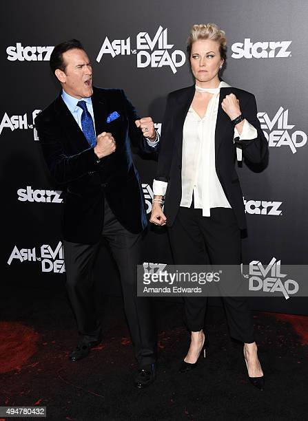 "Actor Bruce Campbell and actress Lucy Lawless arrive at the premiere of STARZ's ""Ash Vs Evil Dead"" at TCL Chinese Theatre on October 28, 2015 in..."