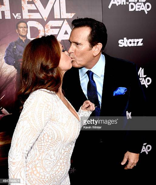 Actor Bruce Campbell and Ida Gearon arrive at the premiere of STARZ's Ash vs Evil Dead at the Chinese Theatre on October 28 2015 in Los Angeles...
