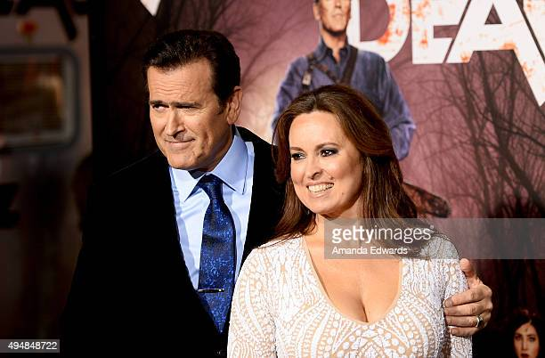 Actor Bruce Campbell and Ida Gearon arrive at the premiere of STARZ's 'Ash Vs Evil Dead' at TCL Chinese Theatre on October 28 2015 in Hollywood...