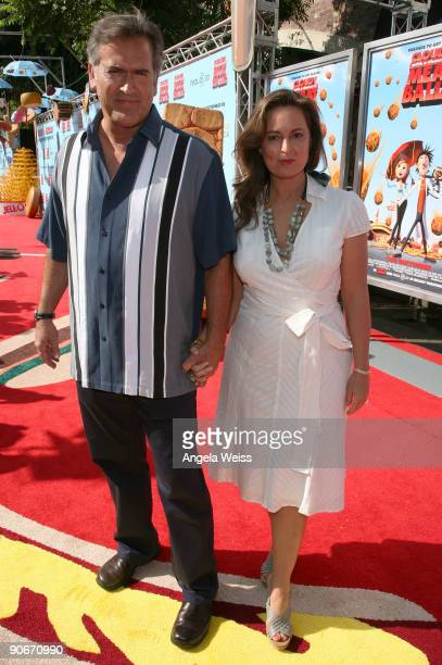 Actor Bruce Campbell and Ida Gearon arrive to the premiere of Sony's 'Cloudy With A Chance Of Meatballs' at the Mann Village Theater on September 12...