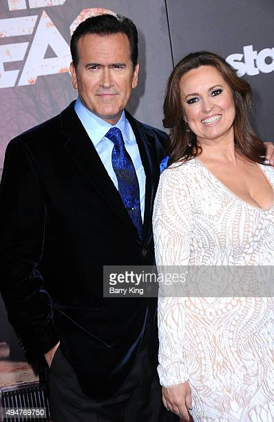 Actor Bruce Campbell and wife Ida Gearon arrive at the Premiere of STARZ's 'Ash vs Evil Dead' at TCL Chinese Theatre on October 28 2015 in Hollywood...