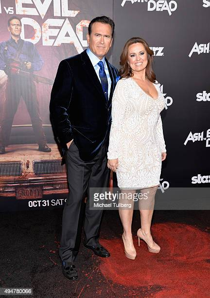 Actor Bruce Campbell and wife Ida Gearon attend the premiere of STARZ's Ash vs Evil Dead at TCL Chinese Theatre on October 28 2015 in Hollywood...