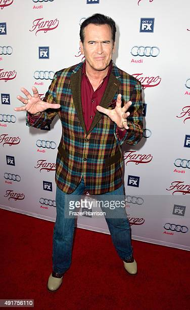 "Actor Bruce Campbell arrives at the Premiere Of FX's ""Fargo"" Season 2 at ArcLight Cinemas on October 7, 2015 in Hollywood, California."