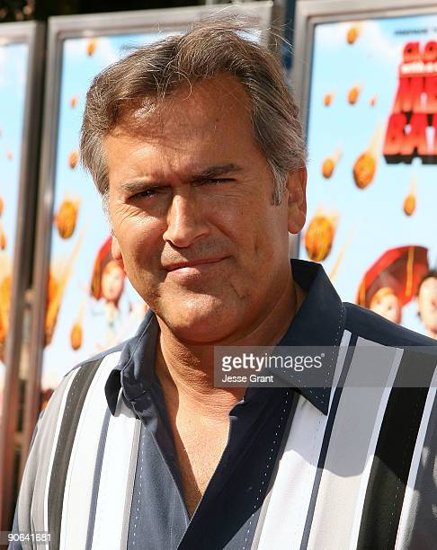 "Actor Bruce Campbell arrives on the red carpet at the Los Angeles premiere of ""Cloudy With A Chance Of Meatballs"" at the Mann Village Theatre on..."