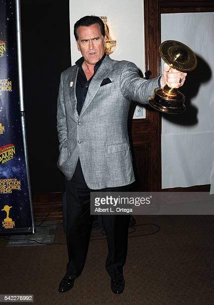 Actor Bruce Campbell poses in the pressroom at the 42nd annual Saturn Awards at The Castaway on June 22, 2016 in Burbank, California.