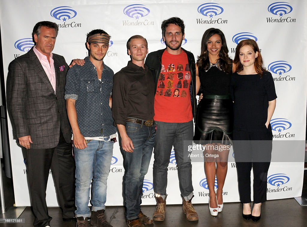 Actor Bruce Campbell, Shiloh Fernandez, Lou Taylor Pucci, Fede Alvarez, Jessica Lucas, Jane Levy participate at WonderCon Anaheim 2013 - Day 2 at Anaheim Convention Center on March 30, 2013 in Anaheim, California.