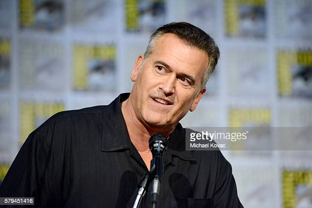 "Actor Bruce Campbell speaks on stage at the ""Ash vs Evil Dead"" Comic-Con screening at the San Diego Convention Center on July 23, 2016 in San Diego,..."