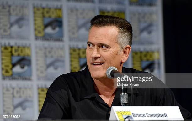 Actor Bruce Campbell speaks on stage during the 'Ash vs Evil Dead' panel during ComicCon International at the San Diego Convention Center on July 23...