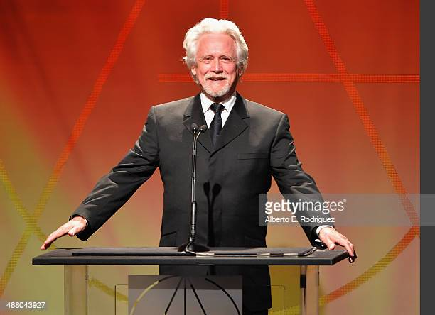 Actor Bruce Davison speaks on stage atthe 18th Annual Art Directors Guild Exellence In Production Design Awards at The Beverly Hilton Hotel on...