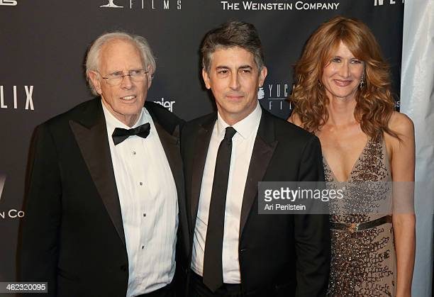 Actor Bruce Dern director Alexander Payne and actress Laura Dern attens The Weinstein Company Netflix's 2014 Golden Globes After Party presented by...