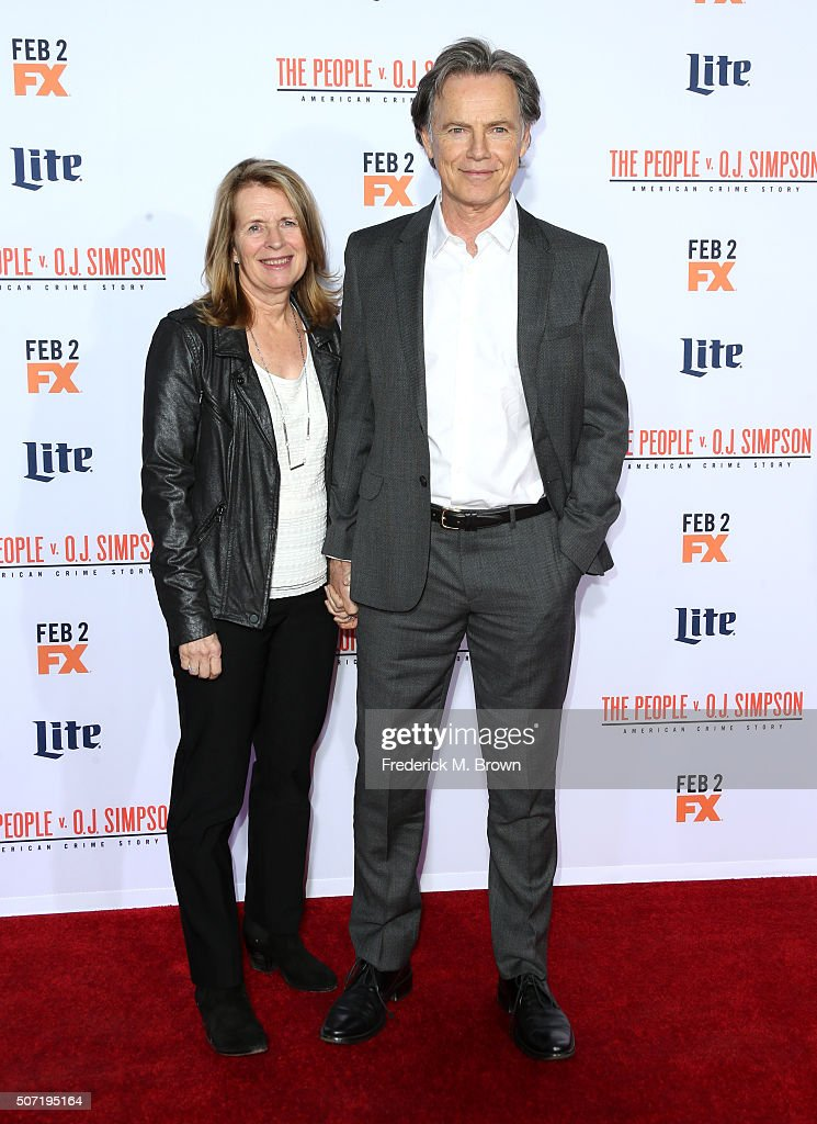 Actor Bruce Greenwood (R) and Susan Devlin attend the premiere of FX's American Crime Story - The People V. O.J. Simpson at Westwood Village Theatre on January 27, 2016 in Westwood, California.
