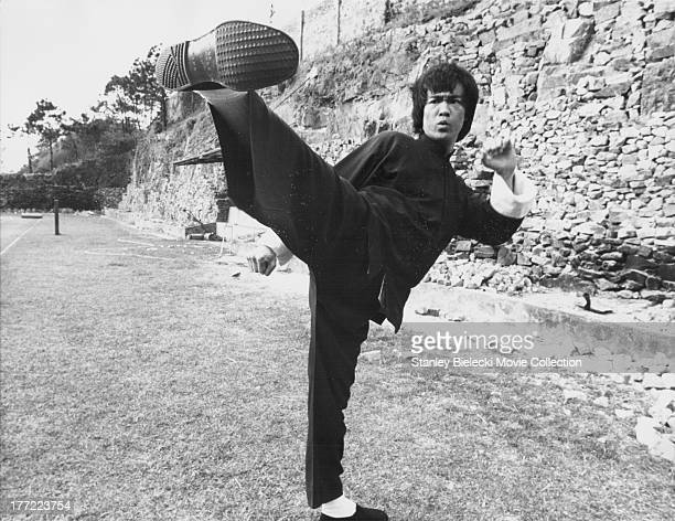 Actor Bruce Lee on the set of the movie 'Enter the Dragon' 1973