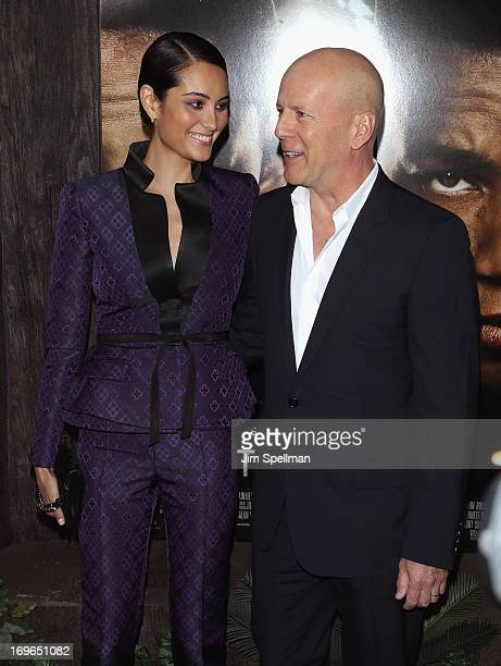 Actor Bruce Williis and wife Emma Heming attend the 'After Earth' premiere at the Ziegfeld Theater on May 29 2013 in New York City