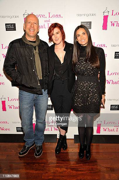 Actor Bruce Willis Actresses Rumer Willis and Demi Moore attend the Love Loss What I Wore new cast member celebration at B Smith's Restaurant on...