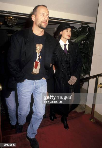 Actor Bruce Willis and actress Demi Moore attend 'A Few Good Men' New York City Premiere on December 2 1992 at the Ziegfeld Theater in New York City